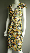 Ruched Front Black & Yellow Print Cap Sleeve Dress Size 12 New Season (£75)