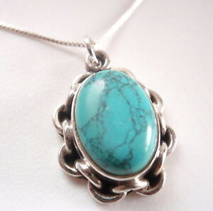 Turquoise Rope Weave Style 925 Sterling Silver Necklace Corona Sun Jewelry