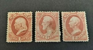 United States 1873 War Dept  1 cent ,6 cents ,12 cents Stamps