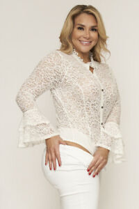 Womens Plus Size White Lace Bell Sleeve Bodysuit 1X Long Sleeve Sheer