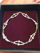 Crystal Beads Necklace From Israel (Ns) 19� Vintage Mint Green Beads And Faux