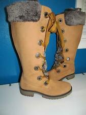 Timberland Mirney Knee High Wheat Tall Tan Faux Fur Lace Up Boots 7M Women 91335