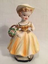 Vintage Japanese Porcelain Figurine Of A Girl In A Yellow Dress, 4