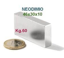 MAGNETE 46x30x10 mm. 60 kg N42 MAGNETI CALAMITA NEODIMIO Forte Extra Mageteterap