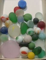 30 Vintage Glass Sea Style Beach Marbles/Pcs Flats Pretty Group Free Ship