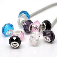 5PCs Mixed Faceted Glass Beads Fit European Charm Bracelet 14x9mm
