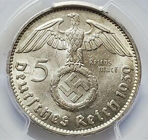 5 Reichsmark 1939 J Paul von Hindenburg Germany Third Reich MS 62 / PCGS !!