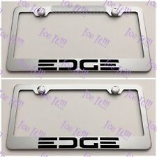 2X Ford EDGE Stainless Steel License Plate Frame Rust Free W/ Caps