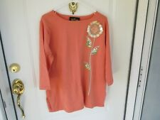 Bob Mackie Ladies lge Orange Sweater with Sequined Sunflower