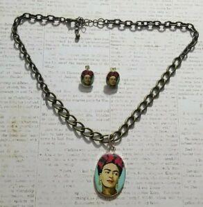 Frida Kahlo Jewelry Set  Earrings  & Necklace