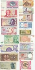 Variety Set of 17 Different World Currency Real Uncirculated Banknotes