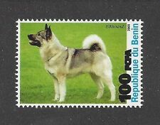 Dog Photo Full Body Portrait Postage Stamp Norwegian Elkhound Benin 2003 Mnh
