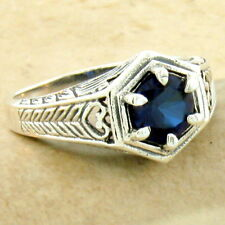 CLASSIC ART DECO 925 SILVER LAB SAPPHIRE ANTIQUE STYLE RING SIZE 8,        #1096