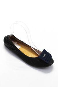 Lanvin Womens Rounded Toe Black Leather Ballet Flats Shoes Size EUR 37.5
