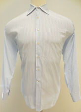 BARNEYS New YORK Dress SHIRT 17 1/2 L Mens STRIPED White MULTICOLOR Italy SIZE**
