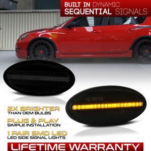 "Fit Mazda 2/3/5/MPV ""DARK SMOKE"" Amber LED Front Fender Side Marker Light LH+RH"