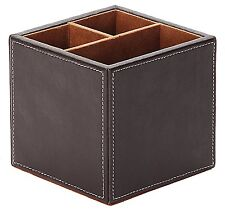 Osco Faux Leather Square Pen Pot Stationery Organizer Holder Office Supplies NEW