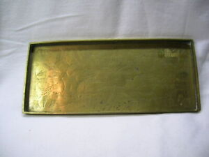 """Marked CHINA. Solid Brass Tray w/ Engraved Design 8-5/8"""" x 3-5/8"""" x 3/8"""" depth"""