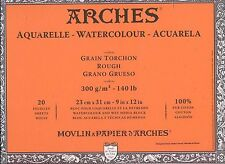 "Watercolor Paper 9"" x 12"" - Arches - 20 sheets 100% Cotton - product of France"