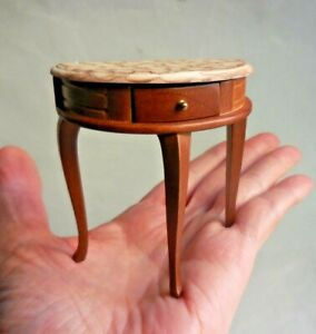 DOLLHOUSE MINIATURE ~ 'MARBLED' HALF ROUND TABLE ~ RETIRED