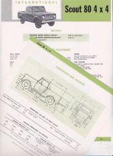 Early 1960s INTERNATIONAL SCOUT 80 4x4 2 Page Australian Spec Sheet Brochure I-H