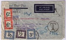 South Africa 1943 India incoming cover taxed with 3 colour postage due