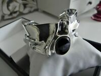 ⭐AWESOME⭐ 50g sterling silver 925 ⭐ fully HM onyx cuff bangle statement bracelet