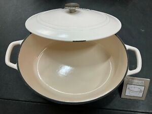 Cuisinart 7 Quart Oval Casserole Cast Iron Cooking Pot in Cream **Defect**