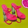 Cape Robbin Macaroon Neon Pink Stretch Strap Lucite Clear High Heel Mule Sandals