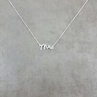 Mrs Cursive Font SILVER Plated Necklace Jewelry Just Married Writing Love Family