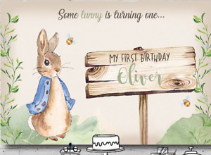 PETER RABBIT LITTLE BUNNY PERSONALISED BIRTHDAY PARTY BANNER BACKDROP BACKGROUND