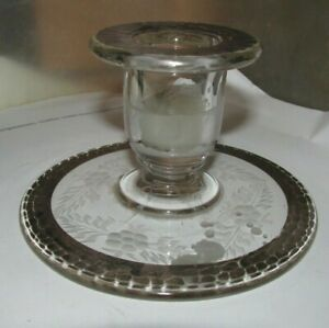 """vintage antique fancy glass candle stick 4 1/2""""  wide 3"""" tall"""