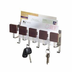 Stainless Steel Mail Key Rack Letter Holder Wall Mount Hook Hanger Organizer