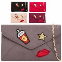 Ladies Faux Suede Sequined Clutch Bag Star Red Lips Evening Handbag Purse KH2093