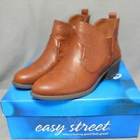 """EASY STREET womens slip-on 2"""" heel LEGEND Style ankle boots size 9.5 W brown NEW"""