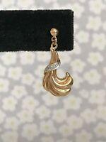 9ct Gold & Diamond Earrings 375 Hallmarked ~ 2.4cm x 1cm ~ 1.12g    (D6B4)