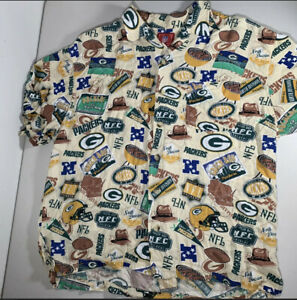 Green Bay Packers Mens 2XL Hawaiian Button Up Shirt All Over Print NFL