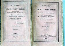 C1 NAPOLEON Baron Fain MANUSCRIT DE 1813 COMPLET en 2 Volumes 1829