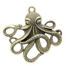 Octopus Pendant Steampunk Kraken Squid Cthulhu Pirate Antiqued Bronze 6 pcs