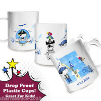 NEW PERSONALISED PIRATE THEME PLASTIC CUP MUG ADD ANY NAME YOU CHOOSE DROP PROOF