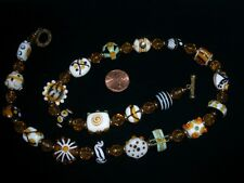 Stunning glass lampwork bead jewelry necklace fancy focal antique gold amber