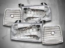 92-96 Ford F-150 Bronco Headlights Clear + Corner Lights Side Marker Clear