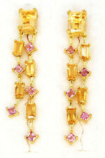 NATURAL PINK TOURMALINE CITRINE SOLID 925 STERLING SILVER EARRINGS (MSE6646N)