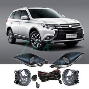 Bumper Fog Lamp Light W/ Wiring Switch Kit for Mitsubishi Outlander 2016 17 2020