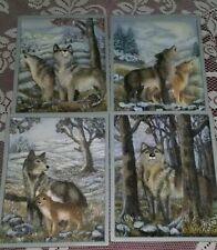 1997 Set 4 Bradex Wolf Timberland Chorus Plates Sculptural 3D Wall Plaques