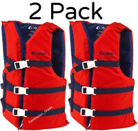 Adult Life Jacket Preserver 2-Pack Red USCG Type III Fishing Boating PFD Vest