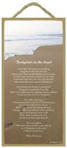 "Footprints in the Sand poem inspirational positive NEW Wood Sign 10 ""x 5"" 647"