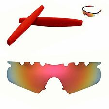 Polarized Fire Red Vented Replacement+ Red Earsocks For Oakley M Frame Hybrid