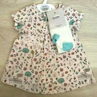 New M*S Baby Girls Woodland Park Animals Theme dress And Tights Set Pinafore