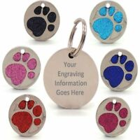 Personalised Engraved Glitter Paw Print Tag Dog Cat Pet ID Tags Reflective